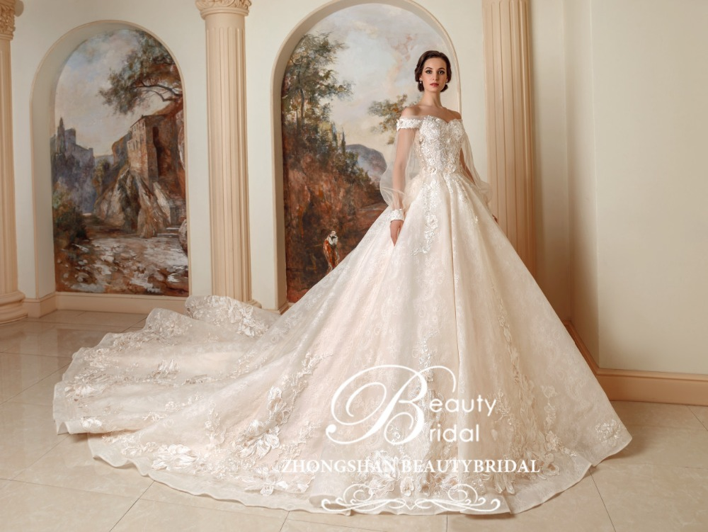 Luxury Princess Long Train Wedding Dress Plus Size Ball