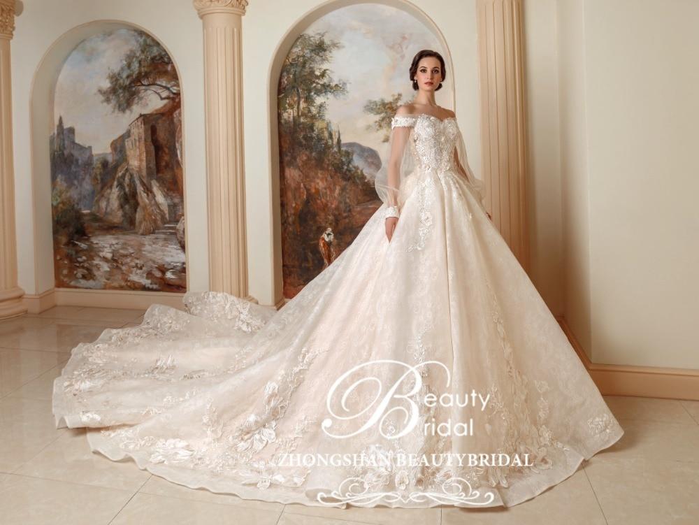 Luxury Princess Long Train Wedding Dress Plus Size Ball Gown Wedding Dresses Vestidos De Noiva Robe De Mariage XF17047