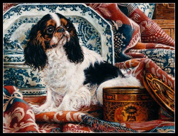 Needlework for embroidery DIY DMC High Quality Counted Cross Stitch Kits 14 ct Oil painting King Charles With Blue Pillow