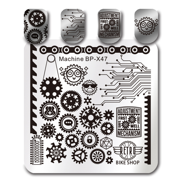 BORN PRETTY Wheel Gear Stamping Template Mechanical Component Square ...