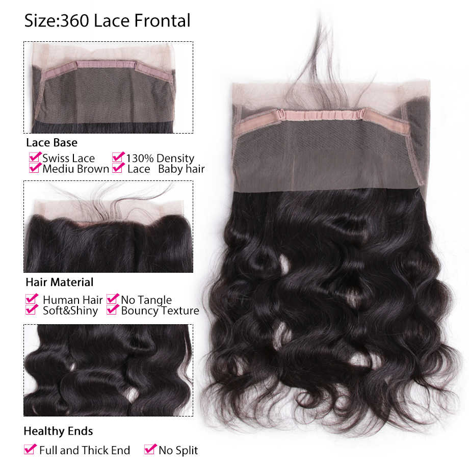 360 Closure Brazilian Hair Body Wave Frontal Closure With Baby Hair 100% Remy Human Hair 13x4 Ear To Ear Lace Frontal Closure