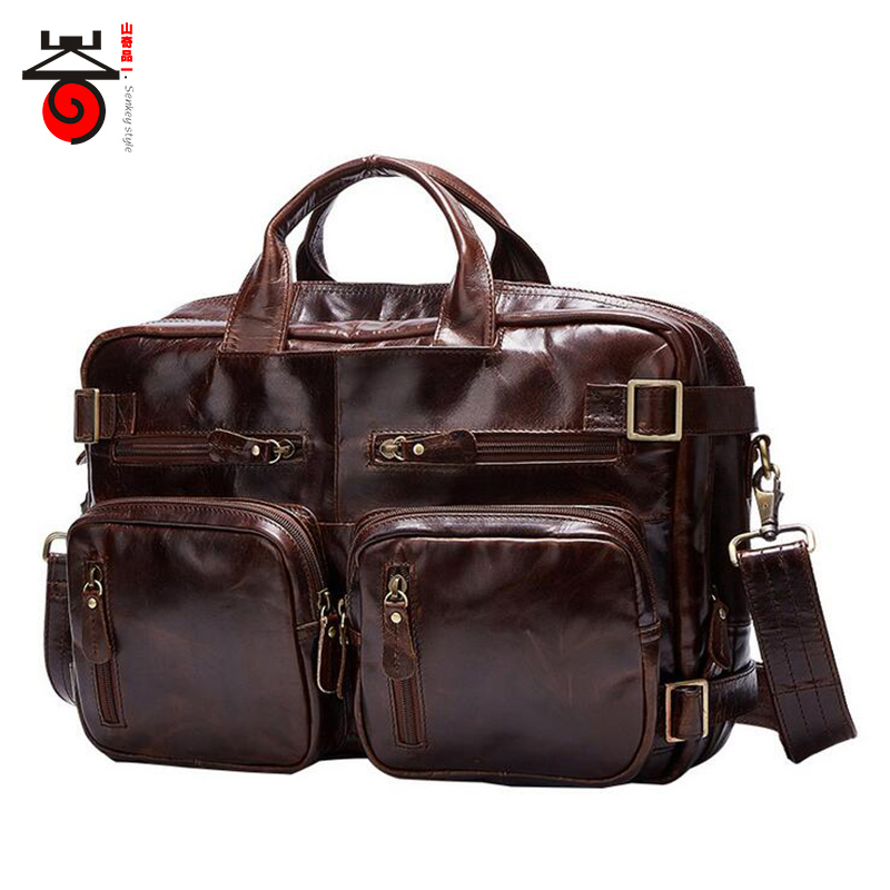 Senkey style 2017 Genuine Leathe Business bag Men Travel Backpack Casual Fashion Document Real Leather Man