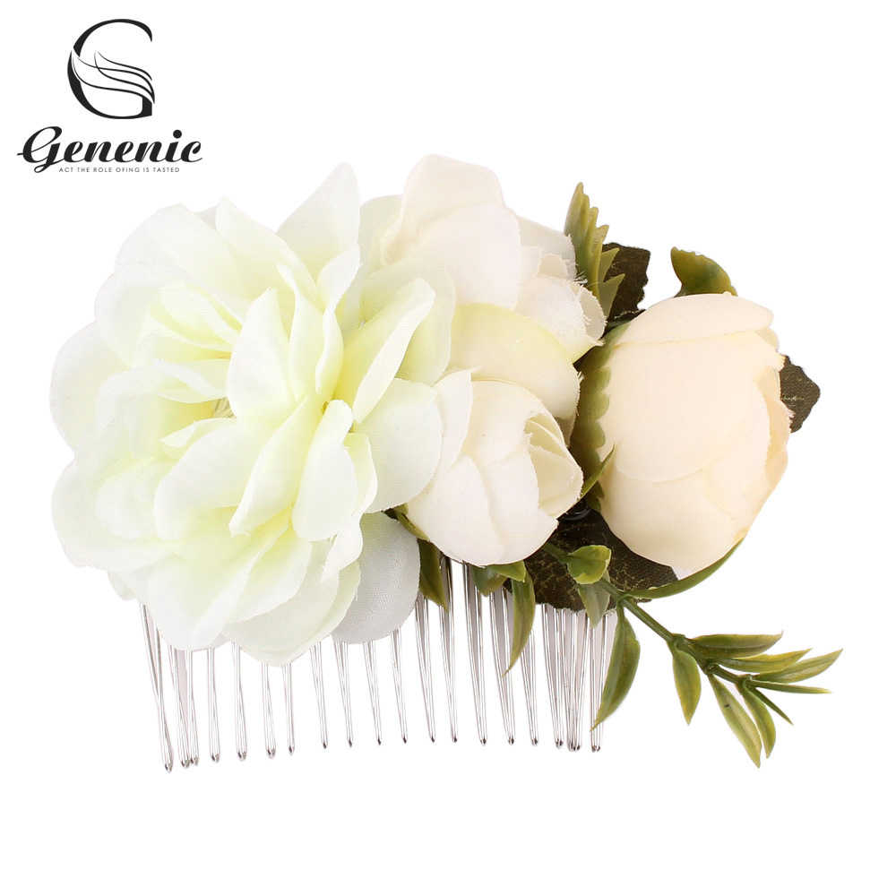 Women Rose Flower Hairpin Brides Hair Pins Clips Combs Bridesmaid Blooming Flower Gold leaves Headband Jewelry Accessories Girls