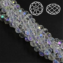 Free Shipping Rondelle Bead 2 3 4 6 8mm Faceted Crystal AB Plating Beads Glass Seed For Jewelry Making Bracelet