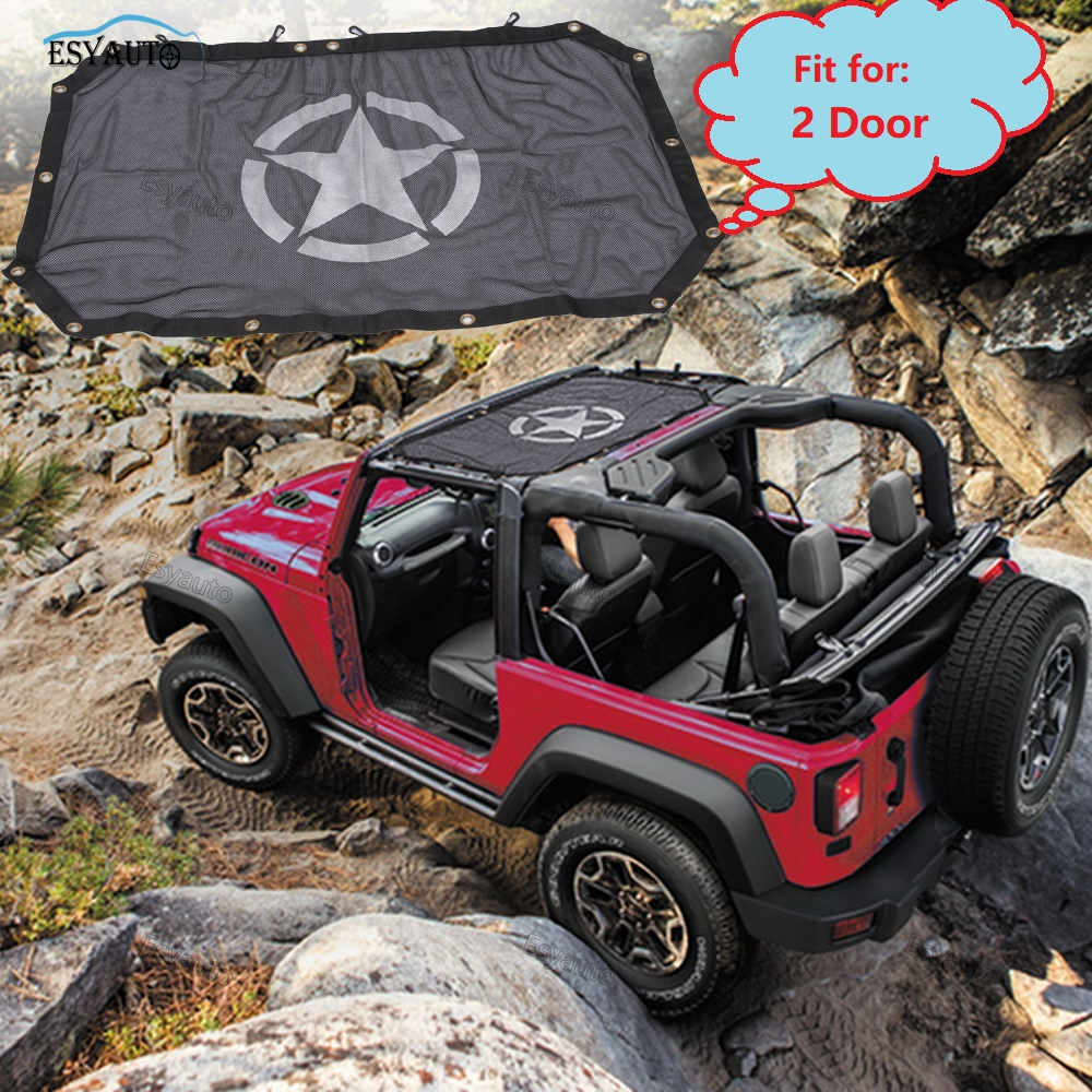Car roof top car covers Sunshade Sun Shade Mesh Cover for Jeep Wrangler JK SUV Black 1 Set car accessories