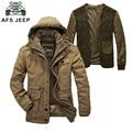 2016 nueva moda de invierno hombres de la chaqueta de afs jeep alta calidad marca engrosamiento informal de algodón acolchado mantener caliente los hombres parkas coat 1358