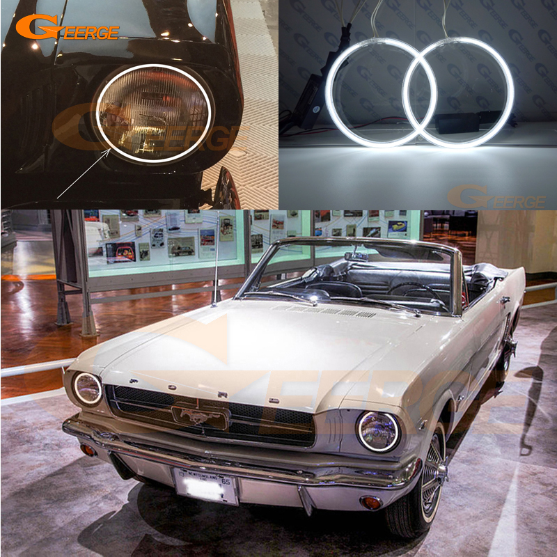 For Ford Mustang 1964-1973 7 Headlamp Excellent angel eyes Ultra bright headlight illumination CCFL Angel Eyes kit Halo Ring