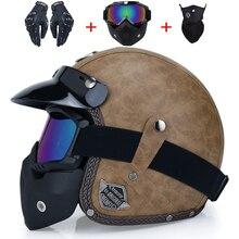 Açık yüz 3/4 kask kişiselleştirilmiş mens womens vintage retro motosiklet kasko de motociclistas kaskları