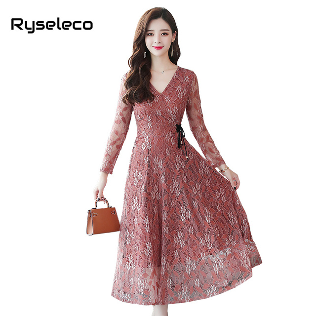 af6852220c European 2018 Fall Women s Cutout Long Floral Lace Dresses Femme Plus size  Casual Clothing Sexy Party Flare Maxi Lace Up Vestido