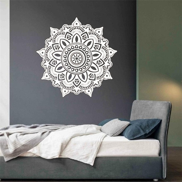 57cm round mandala flower wall sticker indian bedroom wall decal art stickers floral design removable wall