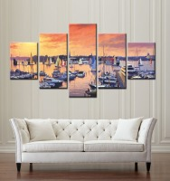 5 Pieces Modern Canvas Prints Frameless Seascape Sailing Boat Wall Art Sunset Oil Painting On Canvas