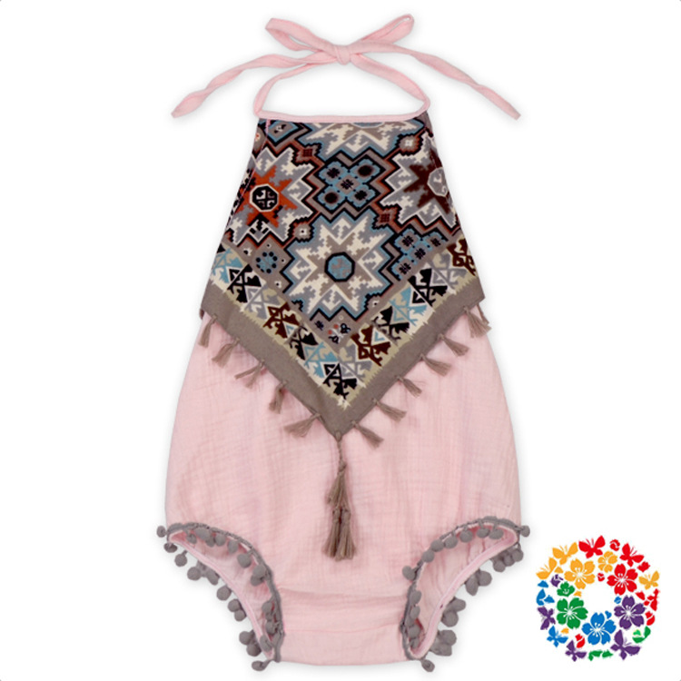 Fashion Toddle Tassel Summer Bodysuits Classical Babys Backless Bodysuits Halter Neck With Print 2017 New Kids Clothes