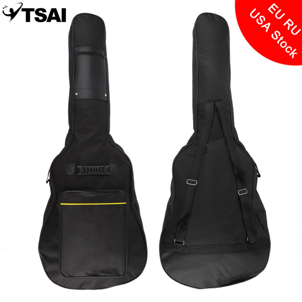 TSAI Universal Acoustic Guitar Case Soft Padded Gig Bag with Double Straps For 40 Inch/41 Inch Electric Guitar Bass shoulders thickening ballad guitar bag wooden guitar backpack 41 inch waterproof guitar electric bass bag electric guitar bag