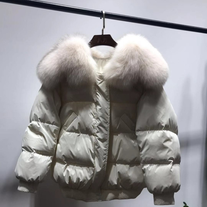 Femmes Avec Manteaux Vêtements blue Court Beige 2018 Bas De Solide Mode white Coréen Vers Le Fourrure Vraie Style Lâche Brillant Nouvelle Veste D'hiver l1KJT3Fc