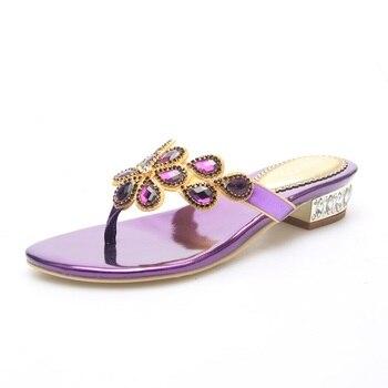 Tong Femme Sandales Plage Women's Flip Flops Fashion Leather Sandals Black Purple Blue Rhinestone INDACO