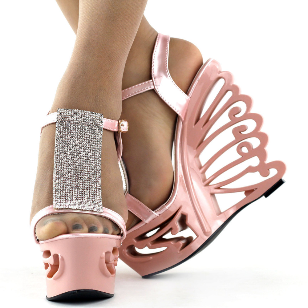 À T Mariage Talons Sandales Cale Mariée argent Papillon Lf51803 silver Pink strap Rose qXExAnwz