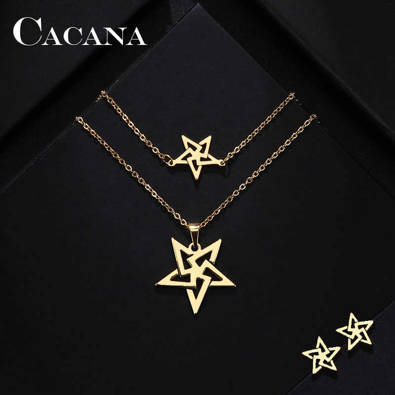 CACANA Stainless Steel Sets For Women Pretty Pentagram Shape Necklace Bracelets Earrings For Women Lover's Engagement Jewelry