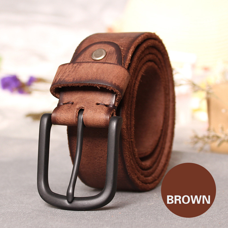 Image 3 - Top Cow genuine leather belts for men jeans Do old rusty black buckle retro vintage mens male cowboy belt ceinture hommeleather belts for mengenuine leather beltleather belt -