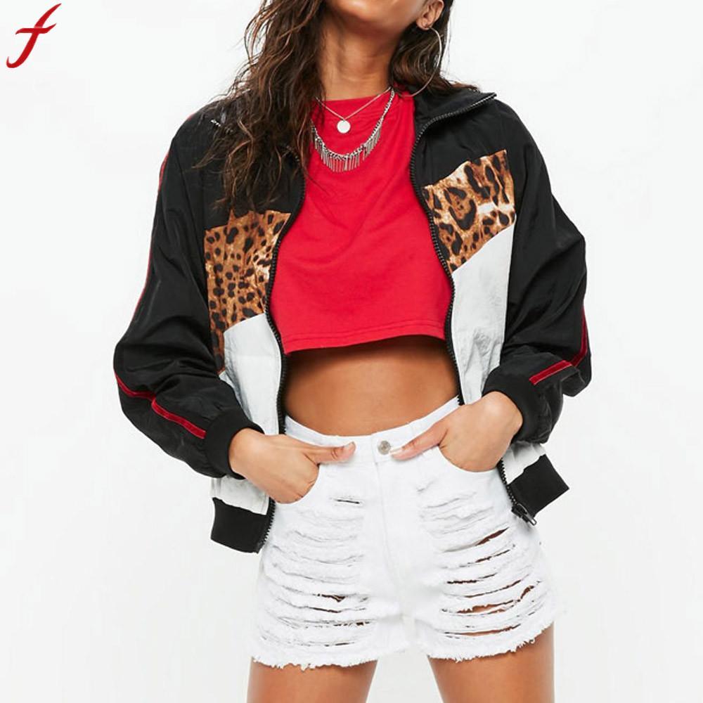 2018 Frauen Grundlegende Mantel Pailletten Jacke Winter Casual Leopard Print Nähte Mantel Zipper Jacke Langarm Mantel Chaqueta Mujer