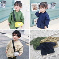 Autumn New Arrival Unisex Trench Coat Cotton Casual Large Pocket Toddler Girls Jacket Korean Fashion Kids Clothes 2 3 4 5 6 Y