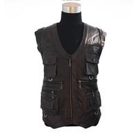 Men Vest Waistcoat Genuine Leather Leisure Reporters Suit Than Pocket Men Cow Leather Vest Big Size