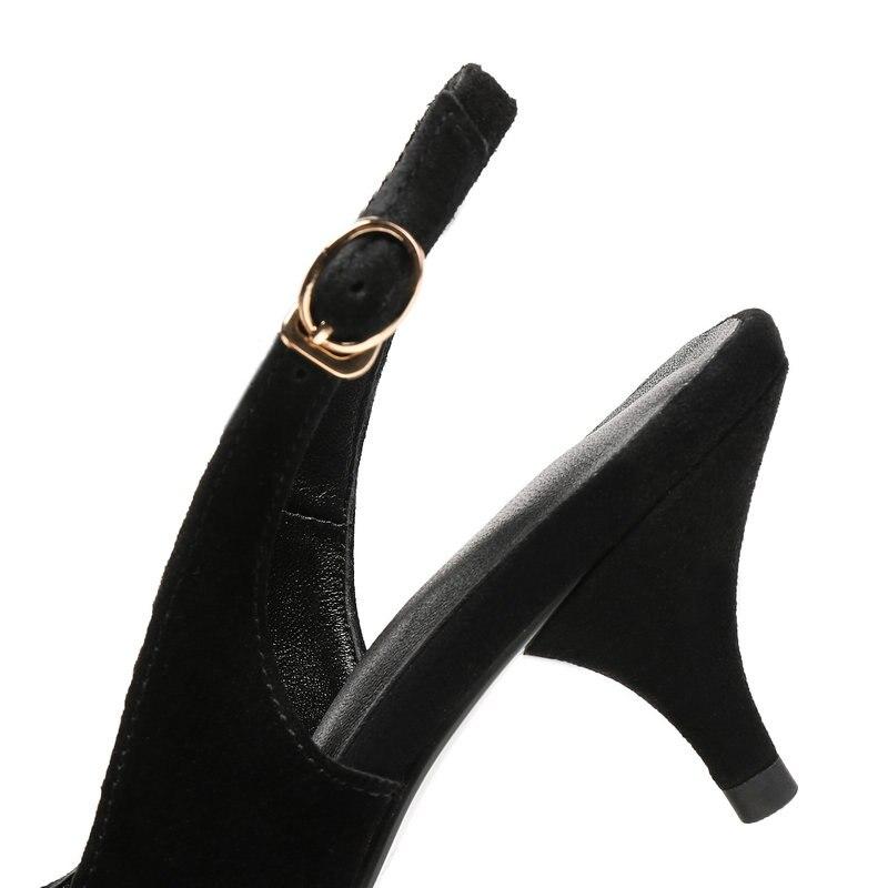 Sexy 2018 Véritable Pompes 42 Mince Noir Bout Femme Hauts En Talons marron 43 Pointu Chaussures 41 D'été Femmes Cuir Grande Taille rYzYt