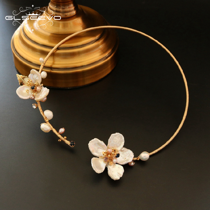 GLSEEVO Natural Fresh Water Baroque Pearl Handmade Adjustable Flower Collar Necklace For Women Gifts Luxury Fine Jewelry GN0062 1