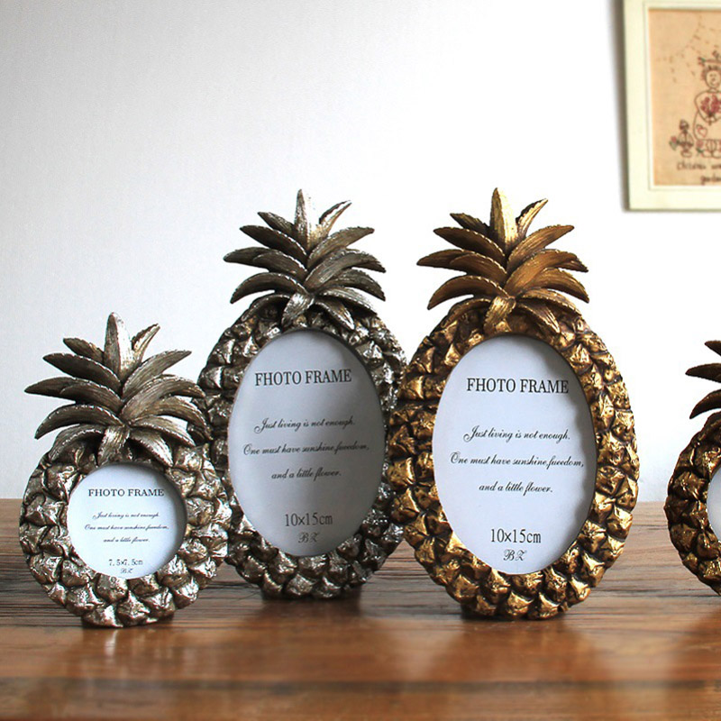 Ellipse Pineapple Retro Style Photo Frame Hot Sale Resin Desktop Picture Frames Best Birthday Gift Gold And Silver