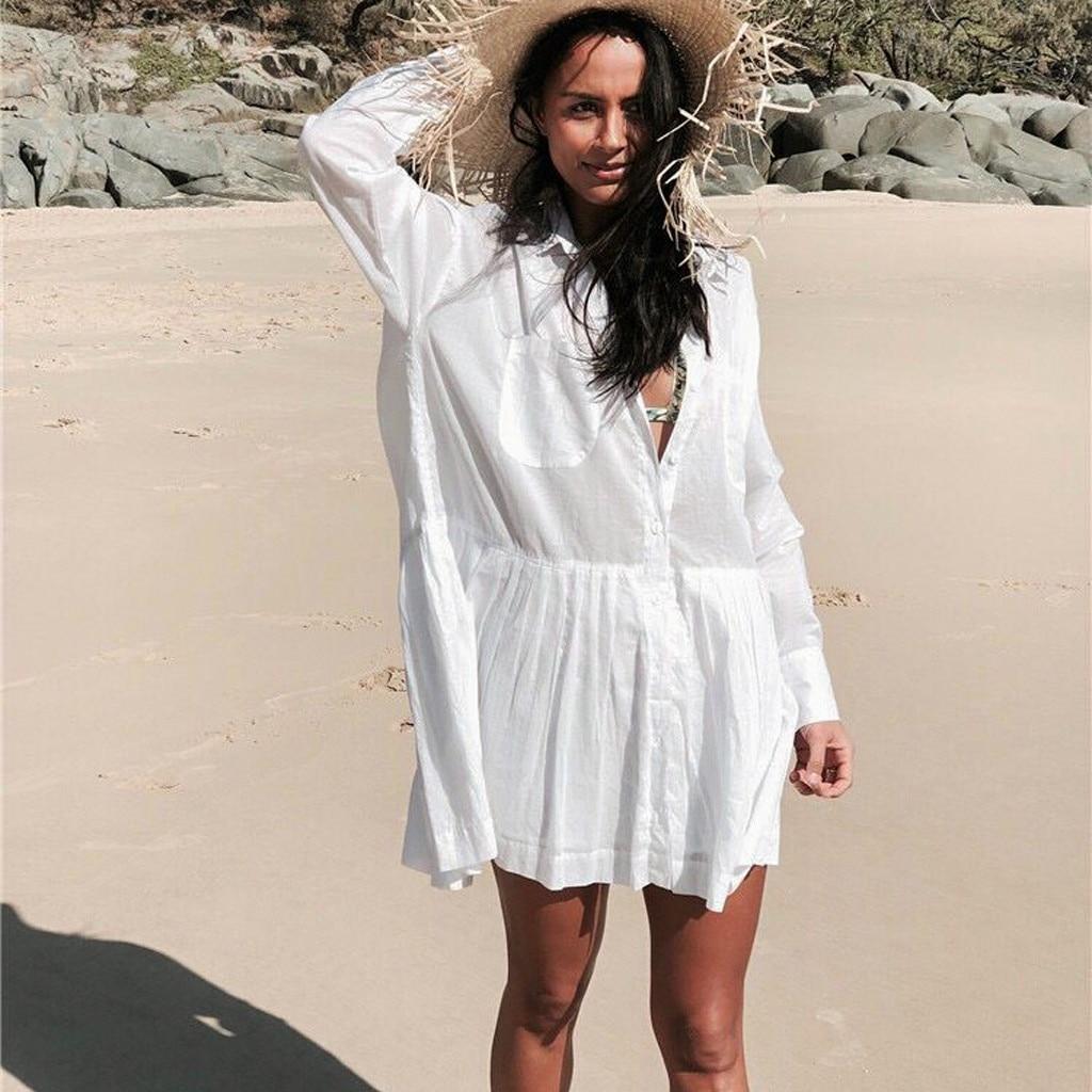 Stylish Bar 2019 Cloth Women Cover Pocket Blouse Suit Bikini Swimwear Beach Swimsuit Smock Fashion Belt See Through Top H0123 Delaying Senility Women's Clothing