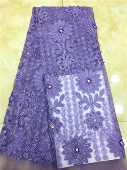 African Lace Fabric Purple Embroidered Nigerian beads sequins stone Laces Fabric High Quality French Tulle Lace Fabric For Women