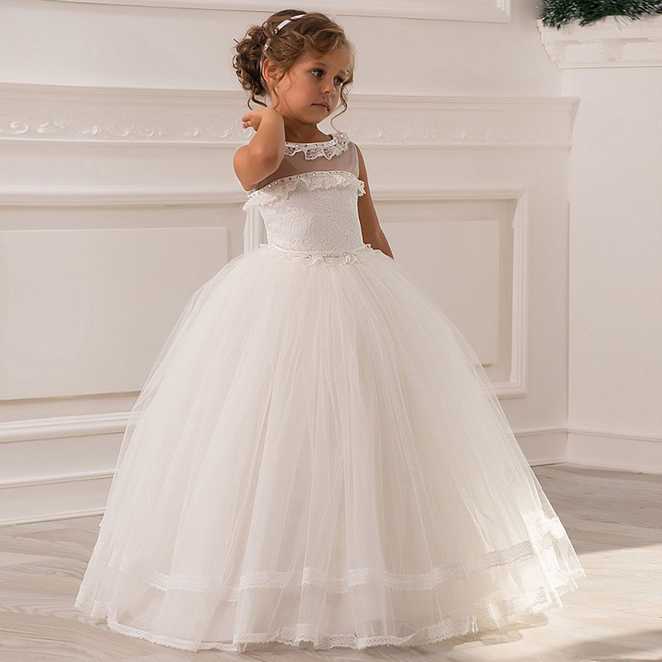 2016 Princess New Flower Girl Dress Formal Lace Appliques Crew Neck Ivory Dress Sheer Neckline Tulle Wedding Party Ball Gowns custom nice sheer short lace sleeve boat neckline ball gowns long pleated appliques wedding birthday party flower girl dresses