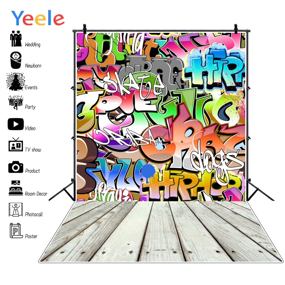 Yeele Graffiti Wall Wood Board Photography Backdrops Baby Cartoon Professional Camera Photographic Backgrounds For Photo Studio