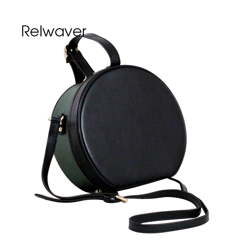 цена на Relwaver cowhide round leather bags stylish mini women leather handbags green black shoulder bag chic crossbody bags for women