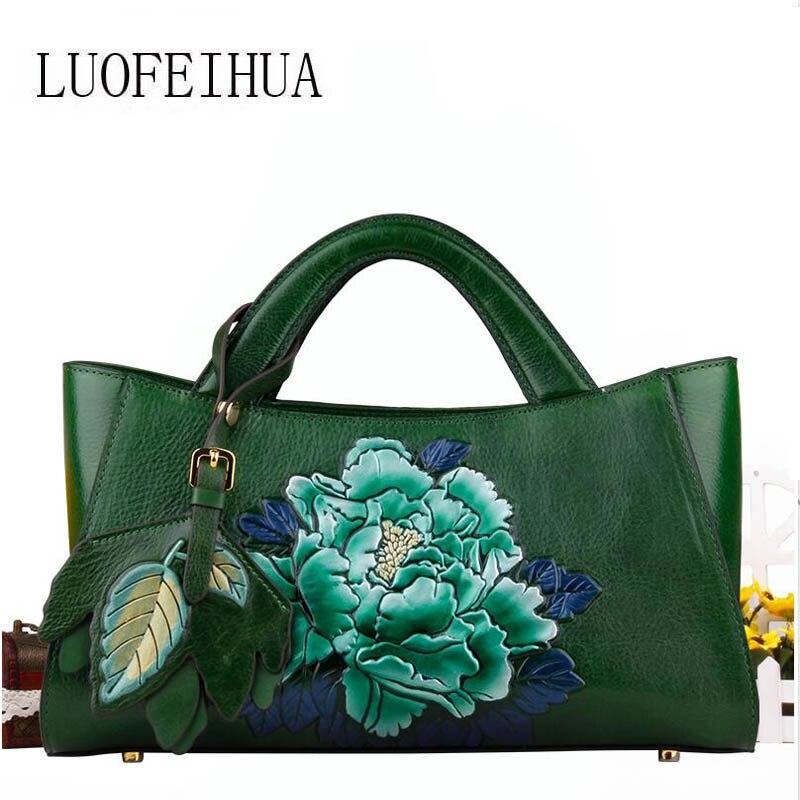 Nationalen Handtaschen Luofeihua Black Trend Mode Europäischen Wind Tasche green Handtasche Schulter Messenger Und 2019 Amerikanischen Neue Leder Geprägte r74xt7
