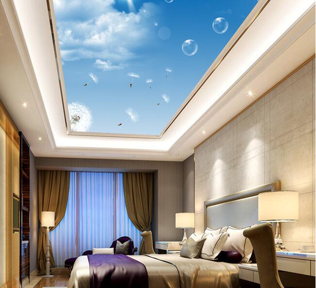 3d wallpaper custom mural non woven Hd blue sky white clouds dandelion roof  ceiling adornment 3d wall room murals wallpaper-in Wallpapers from Home ...