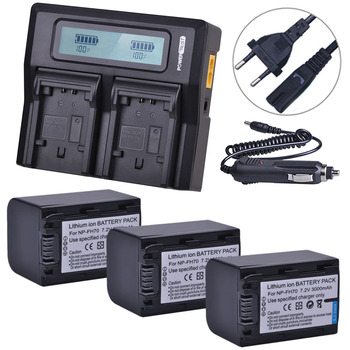 3x 3000mAh NP-FH70 NP FH70 FH70 Battery + LCD Rapid Dual Charger For Sony DCR-SX60 HDR-UX7E UX7 UX5E TG1 TG3 TG5V Camera Battery