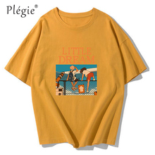 цена на Plegie Girls And Boys Short Sleeve T-shirt Top White Black Letter Print O-neck T-shirts Women/Man 2019 Summer Fashion Tee Tops