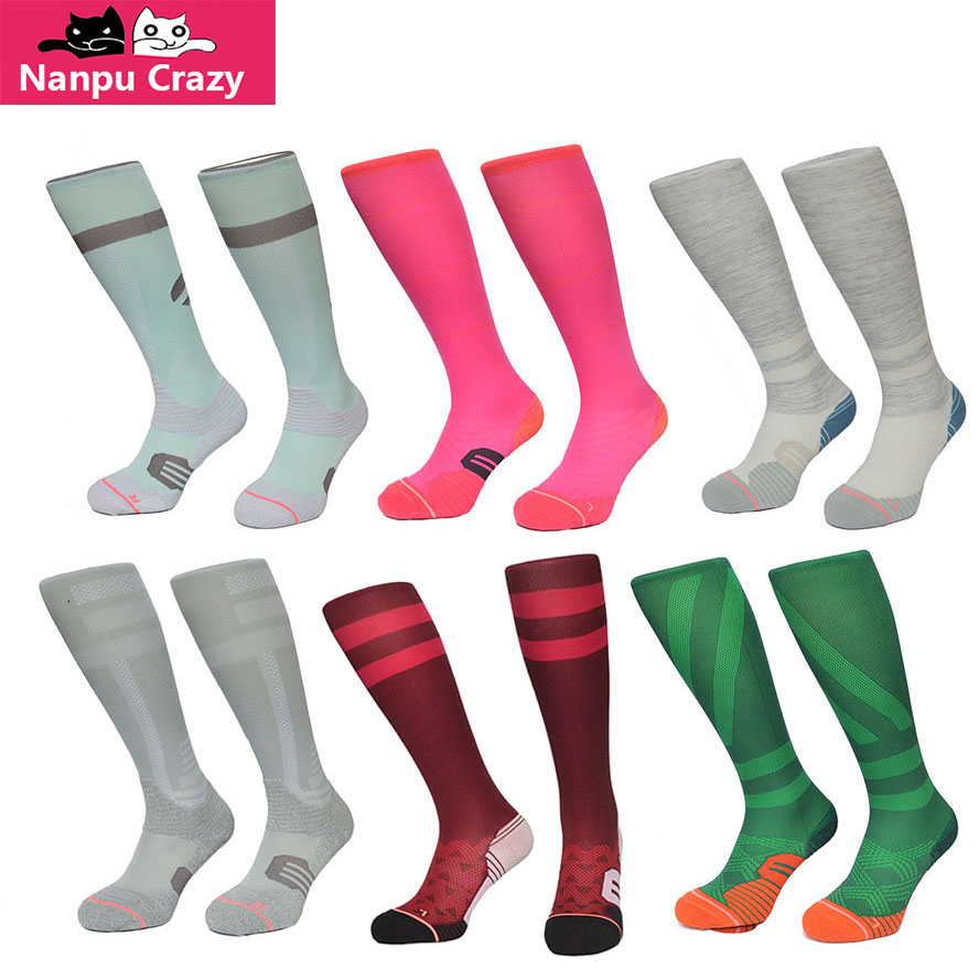 Socks Women Running Sock Colorful Strip Compression Skate Cycling Socks Quick Drying Sports Sock Knee High Cycling Calcetines