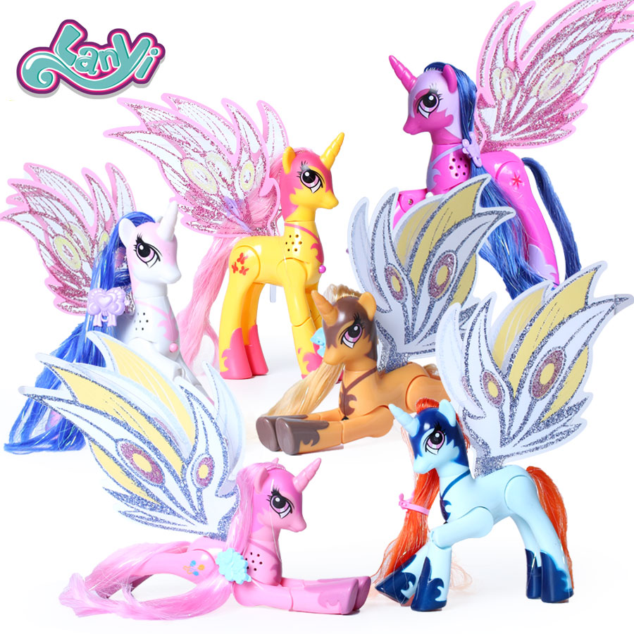 все цены на My little horses action figure anime figure toys for children ponies toys lovely Unicorn light and music joint are movable
