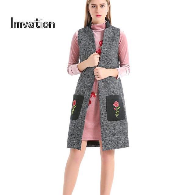 Imvation Женщины Марка 2017 Аппликация Цветочные Шерстяные Открыть Стежка с Длинным Жилет Chalecos Mujer Основные Пальто Весте Роковой Colete Gilet