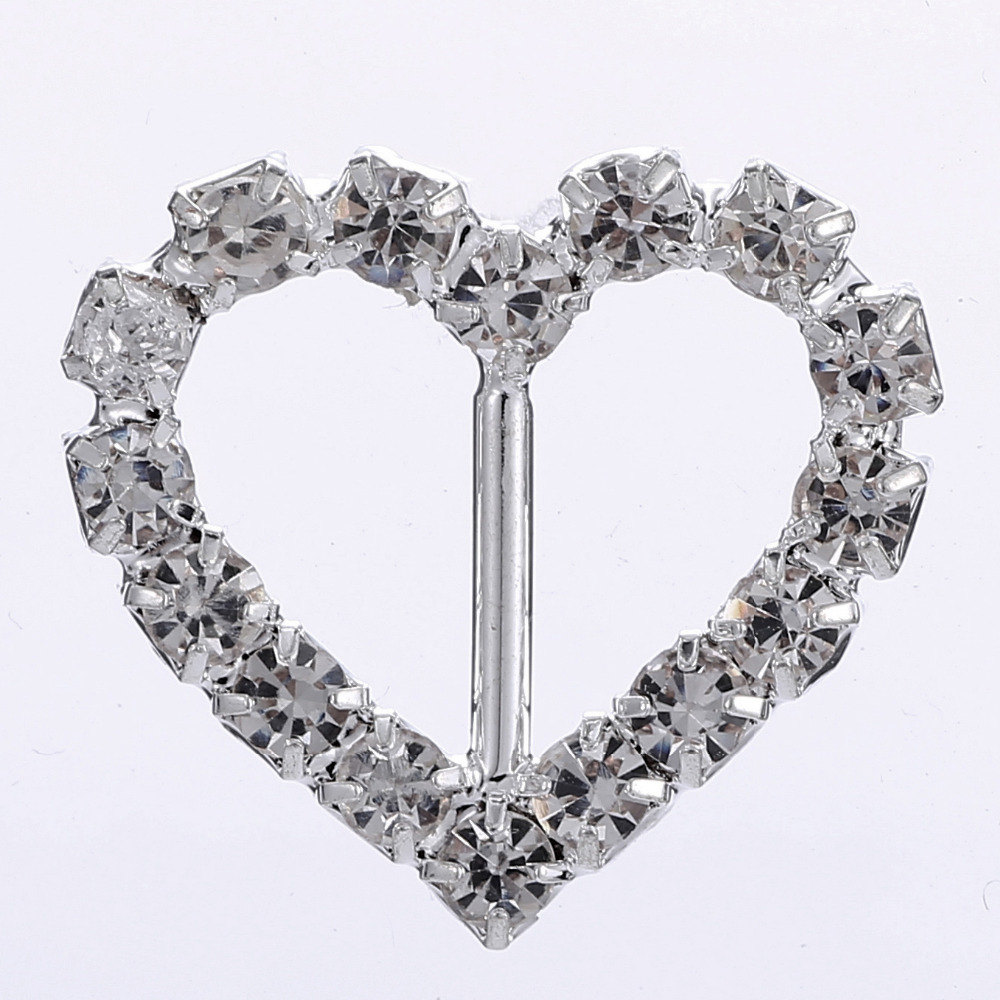 Heart 10pc shiny rhinestones buckle clear crystal buckle metal ...