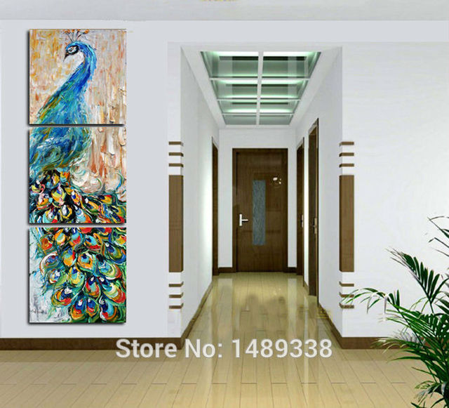 3 pieces wall art Peacock painting wall art print painting Home decoration pictures print on canvas framed art GA863