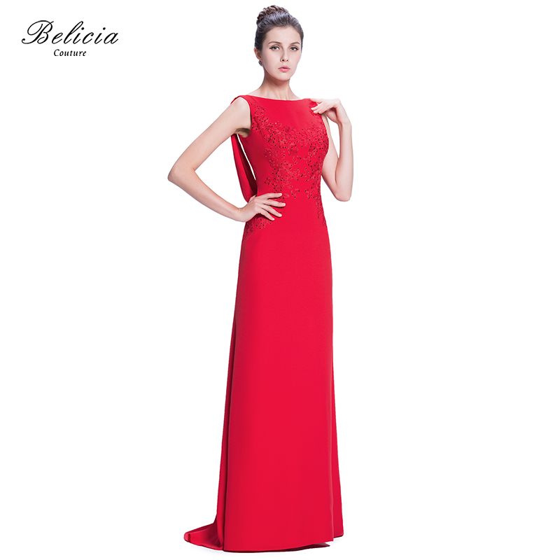 3caa2d5a90d33 US $169.0 |Belicia Couture Women Beading Lace Sleeveless Long Satin A Line  Mermaid Evening Dress With Slight Back streamer-in Evening Dresses from ...
