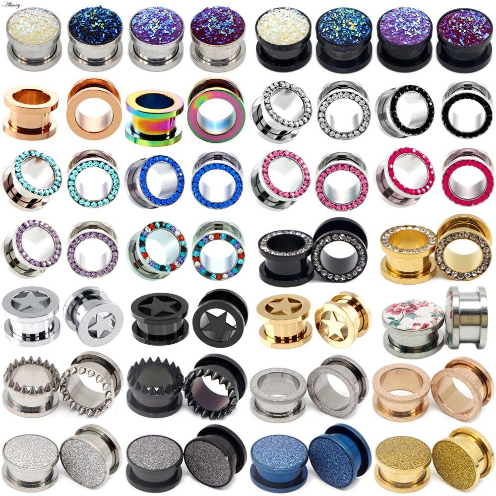 1pc 316L Stainless Steel Ear Plugs and Tunnels Ear Piercings Earlets Screwed Earring Expander Ear Gauges Body Jewelry Piercings