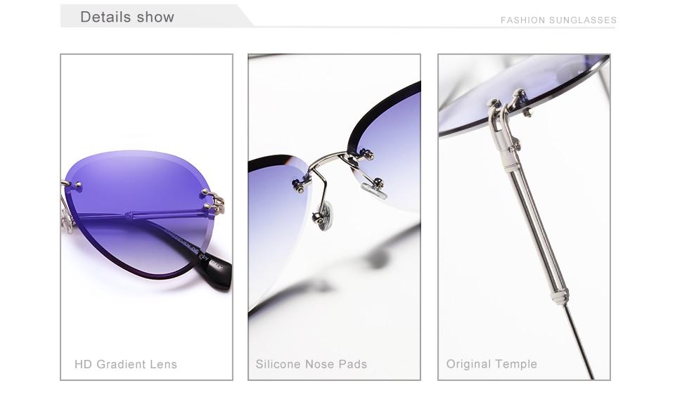 KINGSEVEN 2019 DESIGN Vintage Fashion Sun glasses Rimless Women Sunglasses Gradient Lens Brand Designer Oculos De Sol Feminino