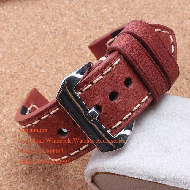 Zurriago de Cuero suave Rojo Brown Correa de reloj de 20mm 22mm 24mm 26mm fit reloj Mecánico militar Pam111 relojes Caliente Pam00369
