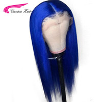 Carina Preplucked Colored Full Lace Wig Glueless Malaysian Straight Remy Dark Blue Lace Front Human Hair Wigs With Baby Hair