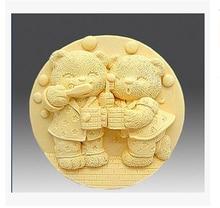 DIY Bear brushing modelling silicon soap mold Cake decoration Handmade fondant