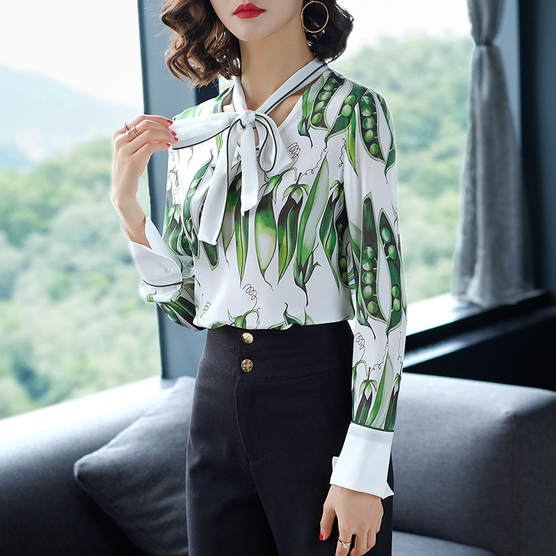 2018 Spring 100% Silk Blouses For Women High Quality Runway Fashion Lady Long Sleeve Print Blouse Shirt Womens Tops and Blouses