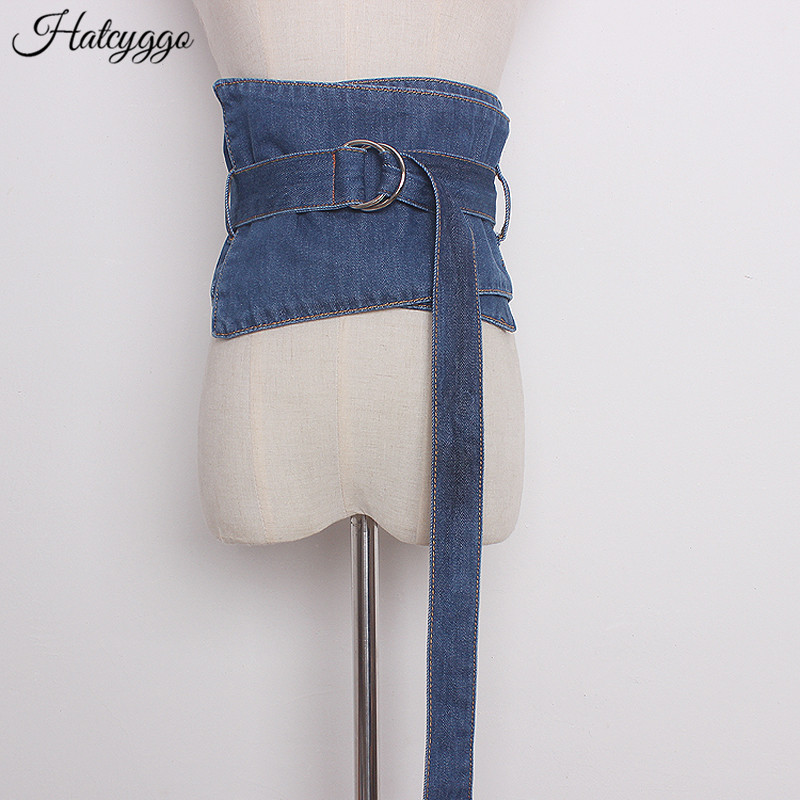 HATCYGGO Fashion Denim Wide Cummerbund Women Belt Brief Denim Clothing Belt Female Skirt Cloth Corset Belt Waistband